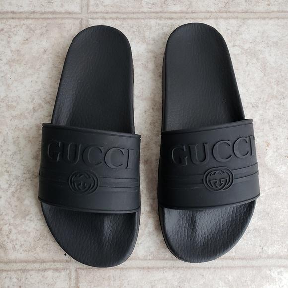 4a83800df3fa2 Gucci Other - Gucci Pursuit Black Logo Rubber Slides 8 Men 10